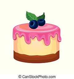 Flat vector icon of round cake with pink icing decorated with mint leaves and blueberries. Sweet confectionery product