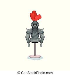Flat vector icon of shiny medieval knights armor, helmet...