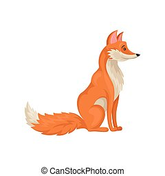 Flat vector icon of sitting red fox, side view. Mammal animal with fluffy tail. Wild creature. Forest fauna theme