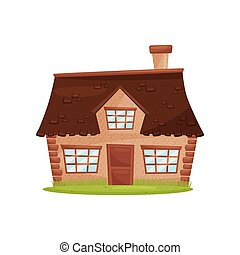 Flat vector icon of small farm house. Cute countryside architecture. Green lawn in front of building