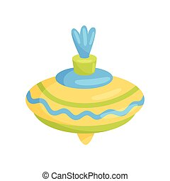 Flat vector icon of small yellow spinning top with blue and green stripes. Children toy. Kids development game