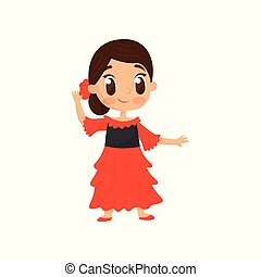 Flat vector icon of smiling girl in traditional Spanish wear. Little child in bright red dress. Fancy costume for carnival