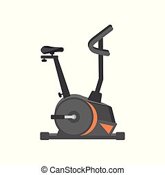 Flat vector icon of stationary bicycle. Exercise equipment. Health and physical activity. Design for advertising poster or flyer of sport club