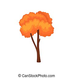 Flat vector icon of tall tree with bright orange leaves. Landscape element of autumn forest. Nature theme