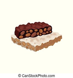 Colorful illustration of torrone or nougat. Traditional Spanish sweets. Delicious dessert made of almond nuts and honey. Confectionery product. Vector icon in flat style isolated on white background.