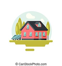 Flat vector icon of traditional family house with solar panel on yard and trees near by. Private eco-friendly building