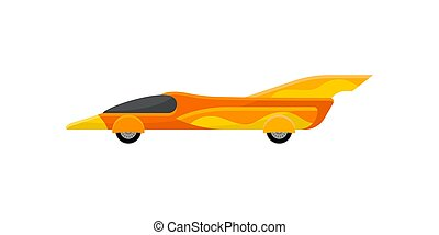 Flat vector icon of vintage sports car. Bright yellow orange racing car with spoiler. Automobile theme