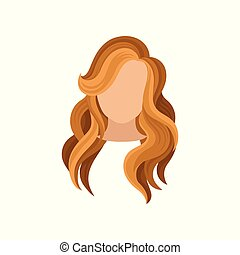 Flat vector icon of woman s head with long curly brown hair. Trendy haircut. Fashionable female hairstyle