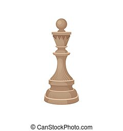 Flat vector icon of wooden chess piece - king. Small figure in beige color. Strategic board game