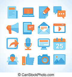 Flat vector icon set of blogging symbols, internet marketing...