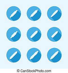 Flat vector icons for longboard - Set of flat vector circle...