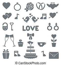 Flat vector icons for wedding
