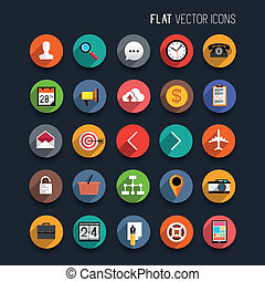 Flat Vector Icons. Set of vector interface icons and symbols...
