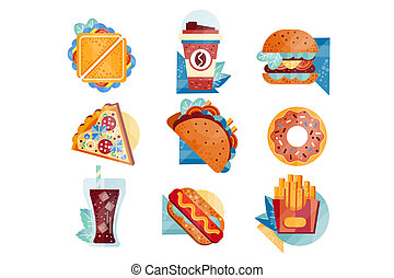 Flat vector icons with fast food and drinks. Sandwich, coffee, hamburger, pizza, tacos, donut, soda, hot dog and french fries. Unhealthy nutrition
