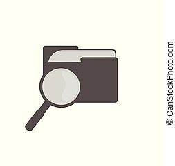 Flat vector illustration - computer folder and magnifier - file search closeup isolated