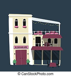 Flat vector illustration. Cute little restaurant house.