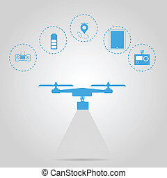 Flat vector illustration for monitoring with quadrocopter -...