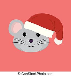 Flat vector illustration. Funny cartoon mouse.