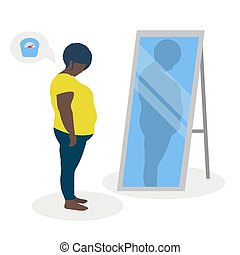 Flat vector illustration of a black fat girl with low self-esteem standing in front of a mirror. The girl looks into her distorted reflection.