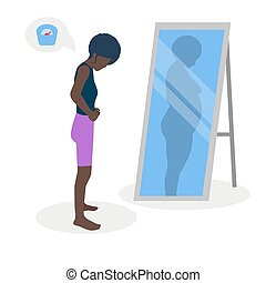 Flat vector illustration of a black skinny girl with low self-esteem standing in front of a mirror. The girl looks into her distorted reflection.