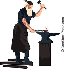 flat vector illustration of a blacksmith