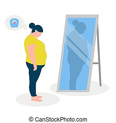 Flat vector illustration of a fat girl with low self-esteem standing in front of a mirror. The girl looks into her distorted reflection.