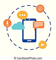 Flat vector illustration of a mobile phone with various communication icons around and coming out of the screen