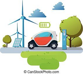 Flat vector illustration of a red electric car charging at the charger station in front of the solar panels and wind turbines. Vector Electric car infographic with icons