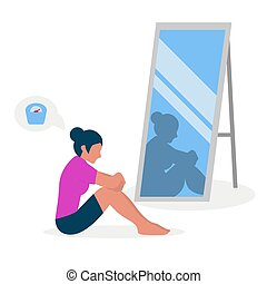 Flat vector illustration of a skinny girl with low self-esteem sitting in front of a mirror. The girl looks into her distorted reflection.