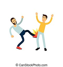 Flat vector illustration of aggressive bearded man in blue sweater beats another guy in leg