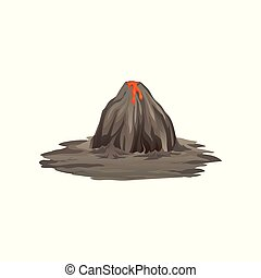 Flat vector illustration of big gray volcano on the ground. Natural disaster. Mountain with crater and hot flowing lava