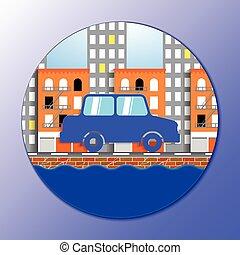 flat vector illustration of car in New york city