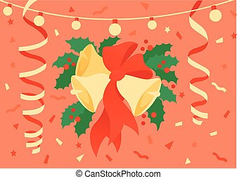 Flat Vector illustration of christmas decoration with bow