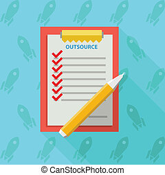 Flat vector illustration of clipboard for outsource - Red...