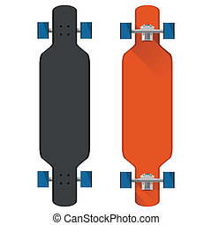 Flat vector illustration of colored longboards - Black and...