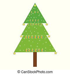 Flat vector illustration of decorated Christmas tree
