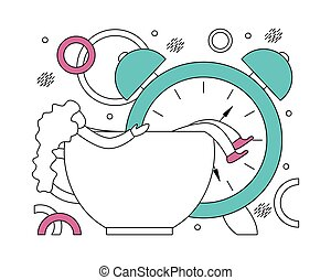 Flat vector illustration of early awakening to work. Line...