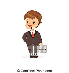 Flat vector illustration of funny little boy in business suit with hands free headset and suitcase in hand. Career choice concept