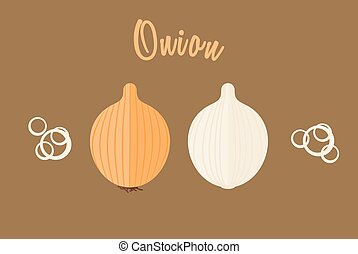 Flat vector illustration of golden onion whole and half.