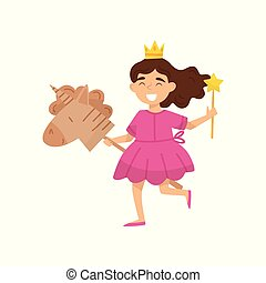 Flat vector illustration of happy little girl in princess dress and crown on head. Child playing with cardboard horse and magic stick