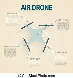 Flat vector illustration of infographic with quadrocopter