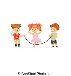 Flat vector illustration of little boy and two girls playing with jumping-rope. Outdoor activity or game concept