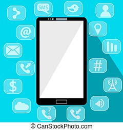 Flat vector illustration of modern Mobile phone with different icons