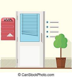 Flat vector illustration of office doors