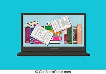 Different books and flying books in computer