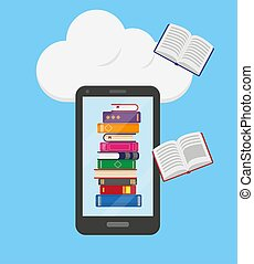 Stack of books into the mobile phone