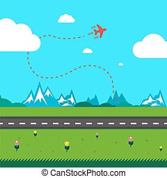 Flat vector illustration of plane with track.