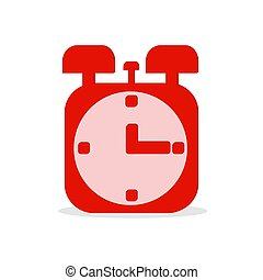 Flat vector illustration of red alarm clock on white background.