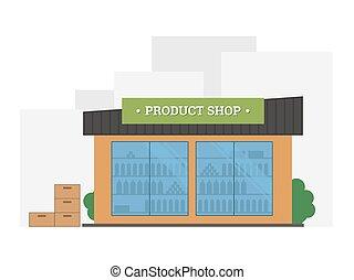 Flat vector illustration of shop building.