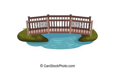 Flat vector illustration of small wooden bridge with railings. Footbridge over pond. Landscape element